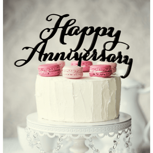 Black Happy Anniversary Cake Topper