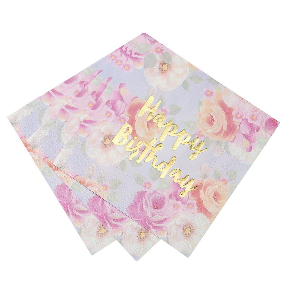 Talking Tables | Happy Birthday Floral Napkins | Floral Party