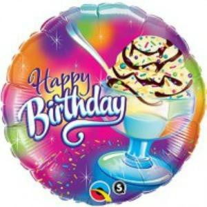 Qualatex | Ice Cream Sundae Happy Birthday Foil Balloon | Ice Cream Party Theme & Supplies