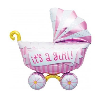 North Star Balloons | Its a Girl Pram Shaped Foil Balloon | Baby Shower