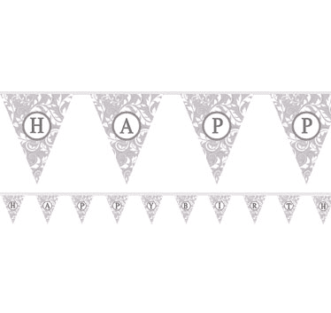 Amscan | Silver Personalised Bunting | Silver Party Supplies