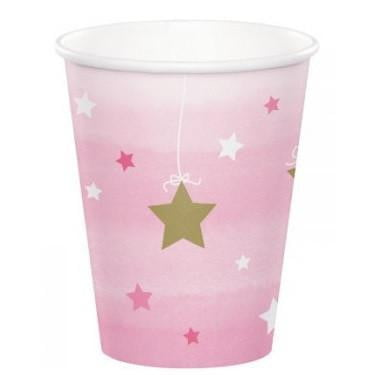 Party Creations | One Little Star Pink Cups | 1st Birthday Party Theme & Supplies