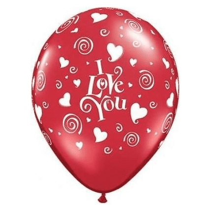 Qualatex | I Love You Hearts & Swirls Balloon | Anniversary Party Theme & Supplies