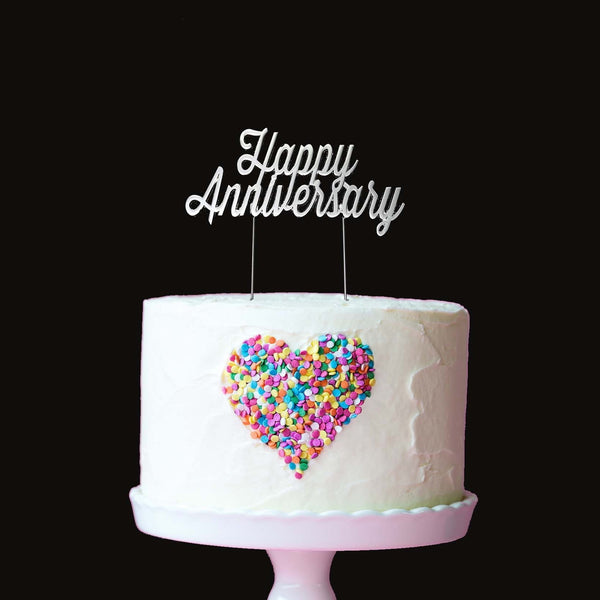Silver Happy Anniversary Cake Topper | Anniversary Cake Decorations