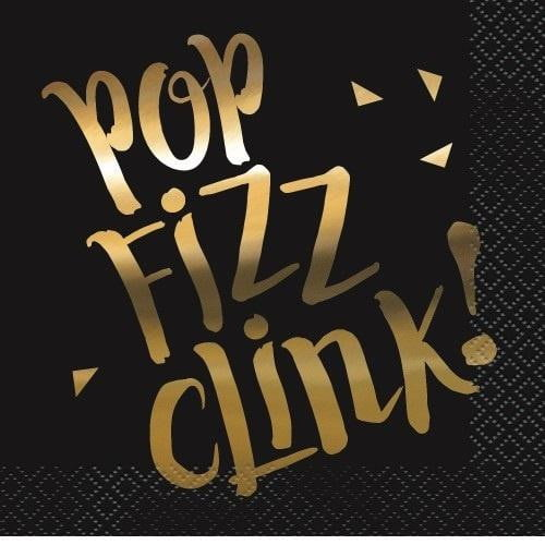 Unique | Black Pop Fizz Clink Napkins - Beverage