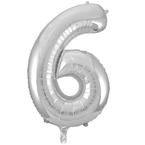 Meteor | Large Number 6 Foil Balloon - Silver