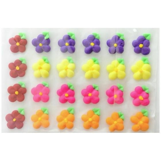 Starline | Icing Drop Flowers with Leaf 19mm Edible Decorations - Mix