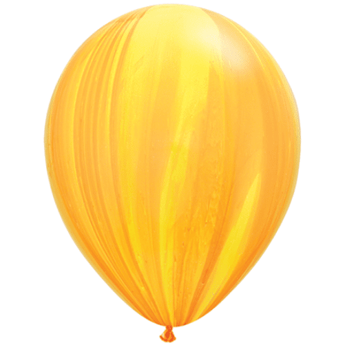 Qualatex | Yellow Orange SuperAgate Balloon | Yellow Marble Balloon