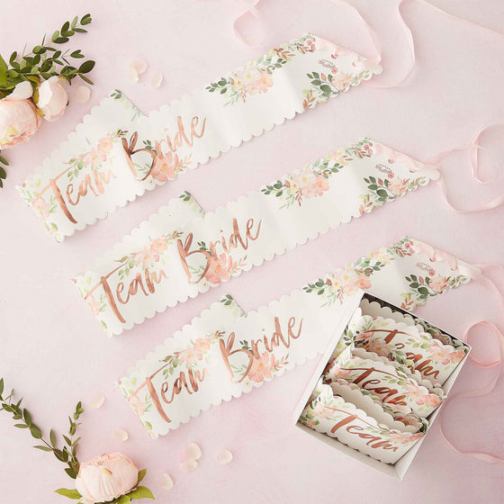 Ginger Ray Floral Hen Party Team Bride Sashes - Pack of 6 | Bridal Shower Party Theme & Supplies | Ginger Ray