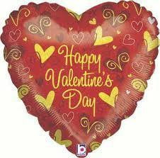 Red and Gold Valentines Day Foil Balloon LAST ONE