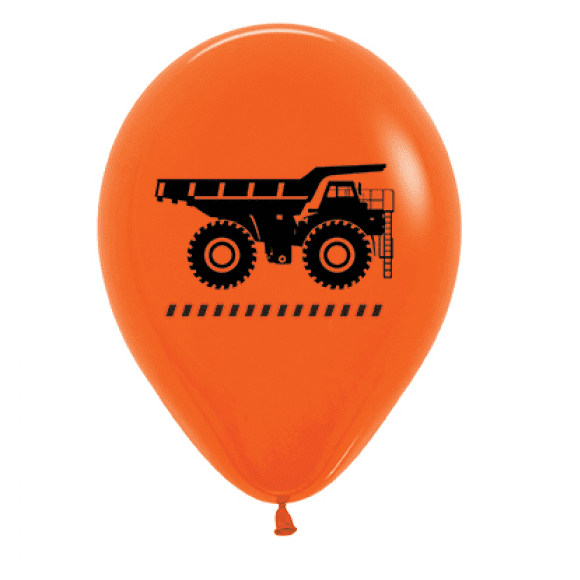 Sempertex | Orange Construction Truck Balloons - Pack of 6 | Construction Party Theme & Supplies |