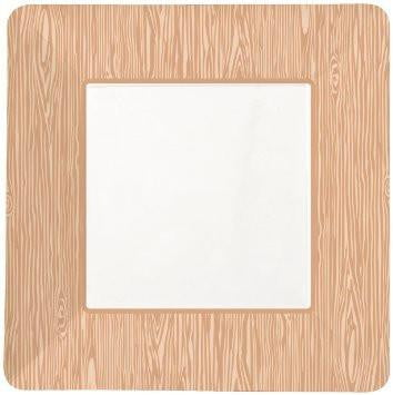 Party Partners | Woodgrain Square Paper Plates | Construction Party Theme & Supplies