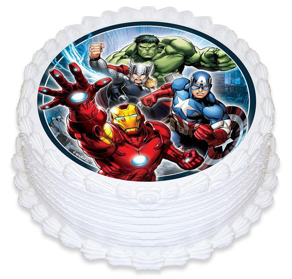 Avengers Edible Cake Image Round Build A Birthday