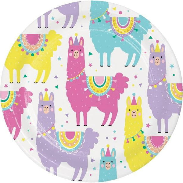 Amscan | Llama Party Plates - Lunch | Llama Party Theme & Supplies