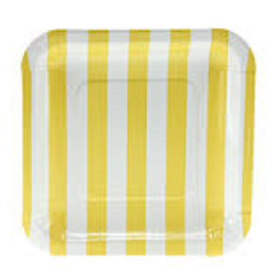 Sambellina Yellow Candy Stripe Square Plates - Lunch | Stripe Party Theme & Supplies