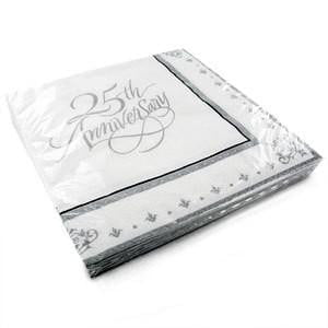 25th Anniversary Napkins | 25th Anniversary Supplies