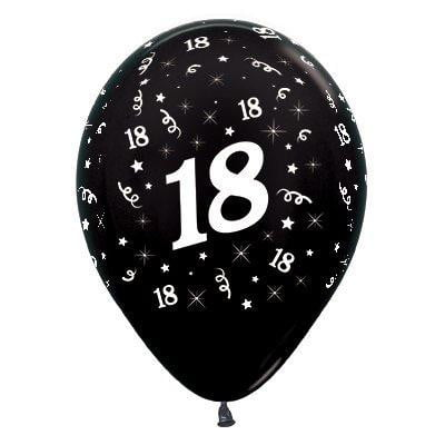 Sempertex | 6 Pack Age 18 Balloons - Metallic Black