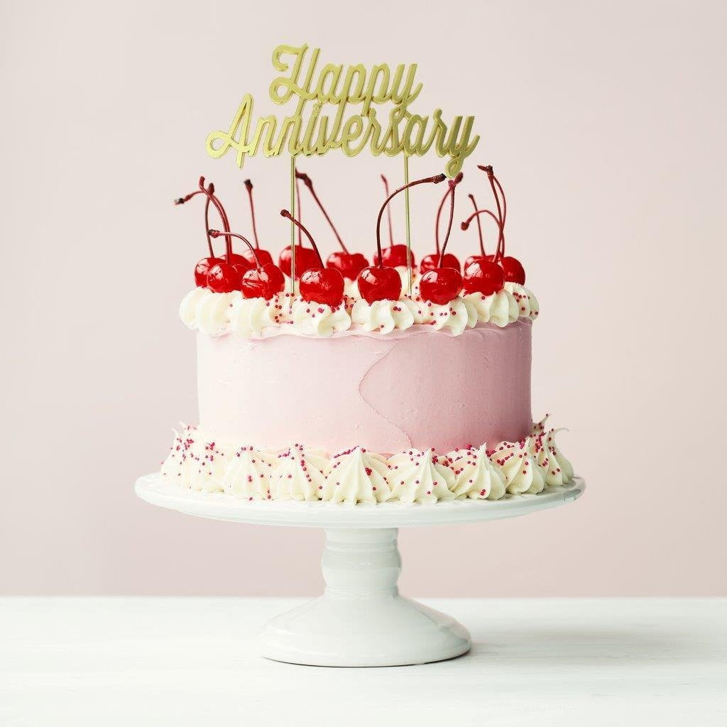 Gold Plated Cake Topper Happy Anniversary Build A Birthday