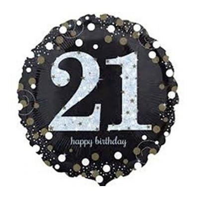 Anagram | Sparkling Black 21st Foil Balloon | 21st Birthday Party Theme & Supplies