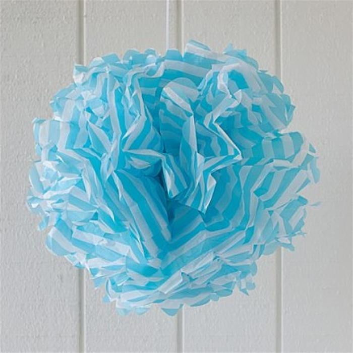 Blue Stripe Paper Pom Pom | Boy's 1st Birthday Party Supplies