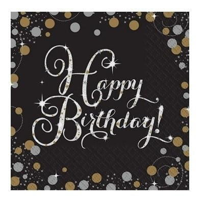 Amscan | Sparkling Black Happy Birthday Napkins | Hollywood Party Theme & Supplies