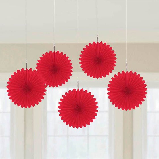 Red Mini Paper Fans | Red Party Decorations