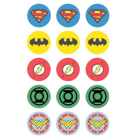 Justice League Edible Cupcake Images