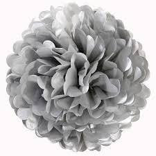 Silver Paper Pom Pom | Decorations themes and supplies