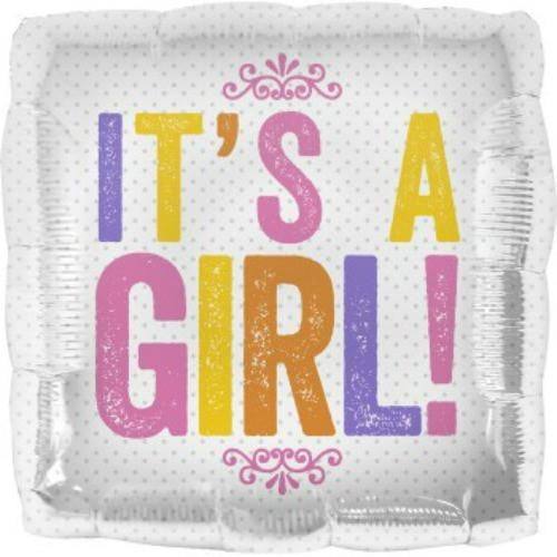 North Star Balloons | It's A Girl Square Foil Balloon | Baby Shower Party Theme & Supplies