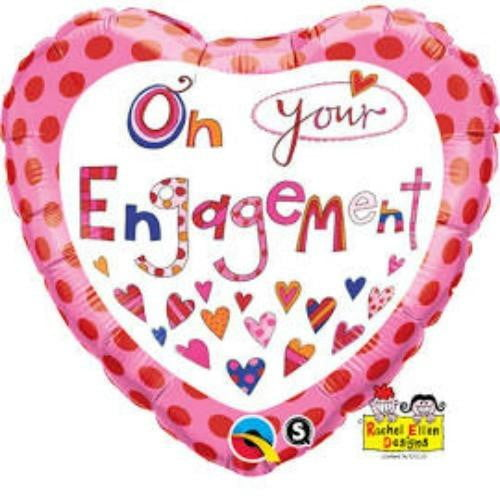 Qualatex | Rachel Ellen Engagement Heart Shaped Foil Balloon