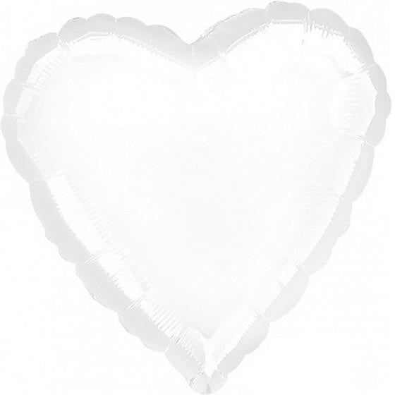 Metallic White Heart Foil Balloon