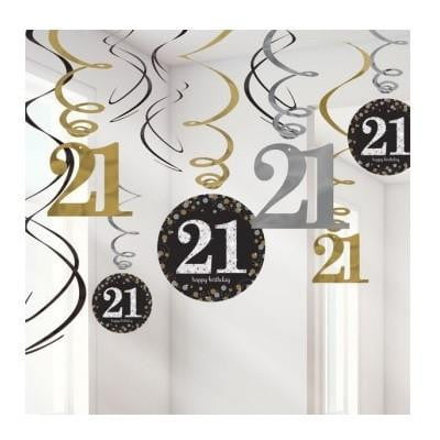 Amscan | Sparkling Black 21st Swirl Decorations | 21st Party Theme & Supplies