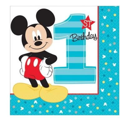 Amscan | Mickey Mouse Fun to be One Napkins - Lunch
