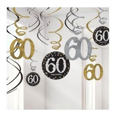 Amscan | Sparkling Black 60th Swirl Decorations | 60th Party Theme & Supplies