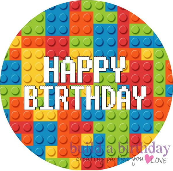 Building Blocks Happy Birthday Edible Cake Image