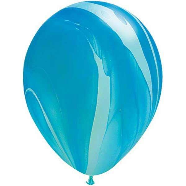 Qualatex | Blue Rainbow SuperAgate Balloon | Blue Marble Balloon | Marble Party