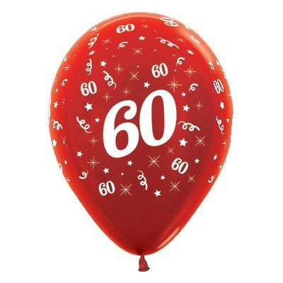 Sempertex | 6 Pack Age 60 Balloons - Metallic Red