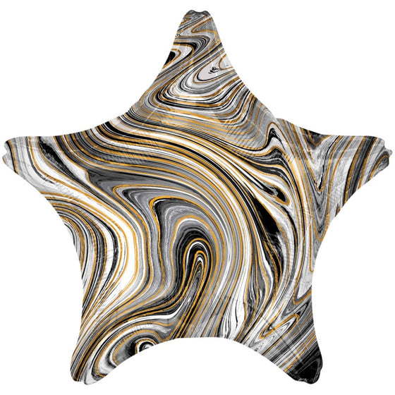 Black Marble Star Balloon | Marble Party Supplies