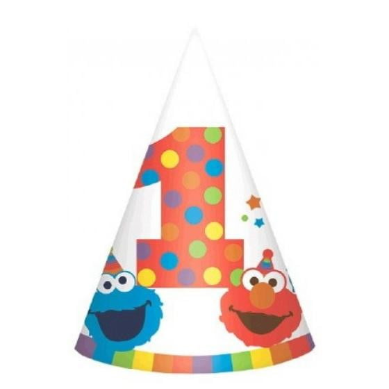 Amscan | Elmo Turns One Party Hats | Sesame Street Party Theme & Supplies