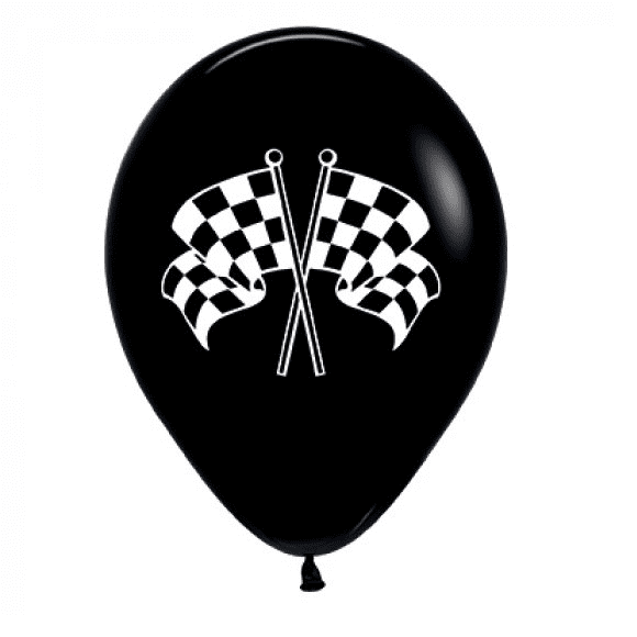Sempertex | Black & White Racing Flags Balloons - Pack of 6 | Racing Party Theme & Supplies |