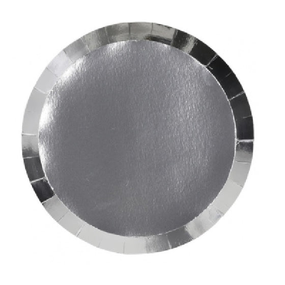 Five Star Metallic Silver Plates - Banquet | Silver Party Theme & Supplies