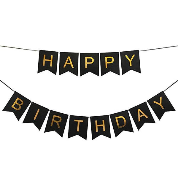 Black and Gold Happy Birthday Banner | Black and Gold Party Supplies