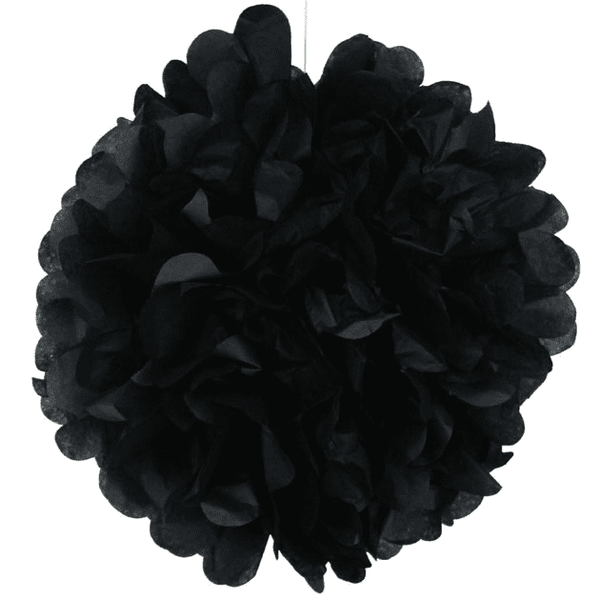 Black Tissue Pom Pom | Black Tie Themed Party