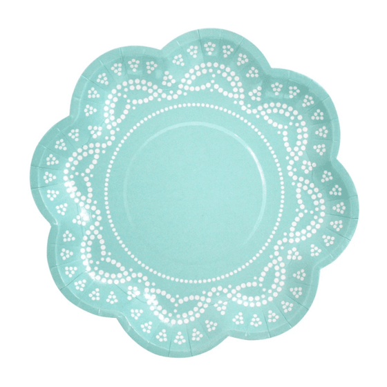 Little Paper Party People | Tiffany Blue Doily Plates | Baby Shower Themed Party Supplies