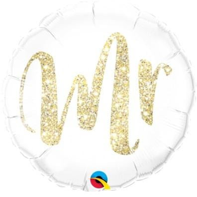 Qualatex | Mr Gold Glitter Foil Balloon | Wedding Party Theme & Supplies
