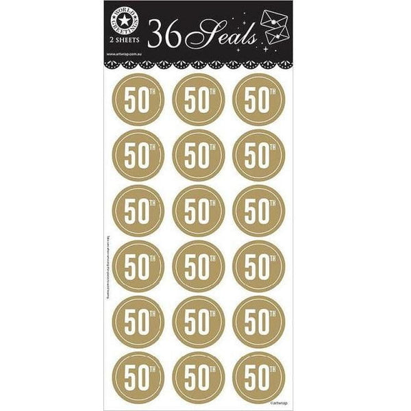 Artwrap | Gold 50th Seals - Round | 50th Party