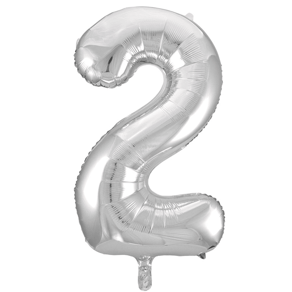 Large Silver Number 2 Balloon