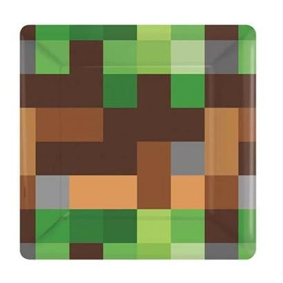 Amscan | Minecraft TNT Plates - Lunch | Minecraft Party Theme & Supplies