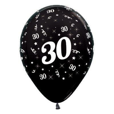 Sempertex | 6 Pack Age 30 Balloons - Metallic Black