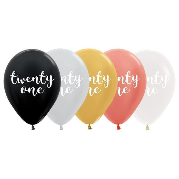 Sempertex | Metallic Twenty One Script Balloon | 21st Party Theme & Supplies